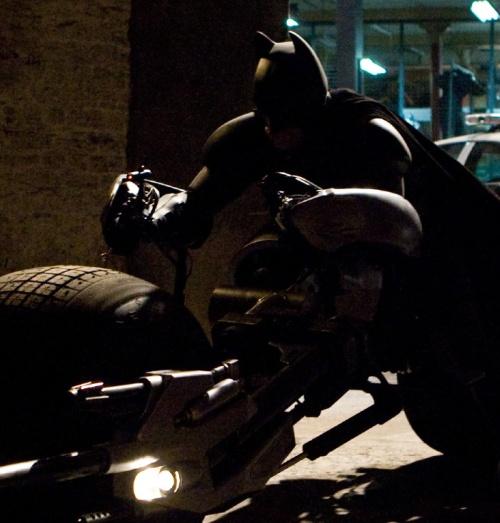 Batman riding Bat pod up close