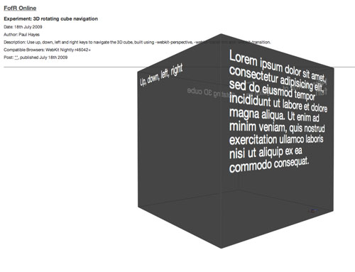 3D cube interface using new WebKit transforms