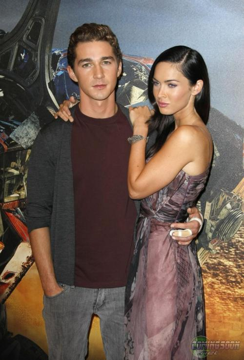 Wherein Shia And Megan Fox Stand Against Transformers 2 Standees For Round After Of Photos Probably Rendering A Flash Induced Headache
